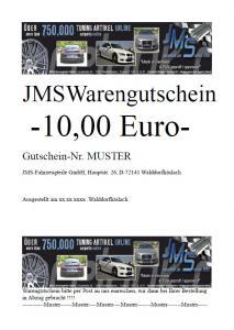 JMS Gutschein 10 Euro für Autozubehör